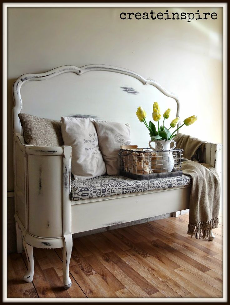 {createinspire}: Antique Headboard to Bench in Antique White