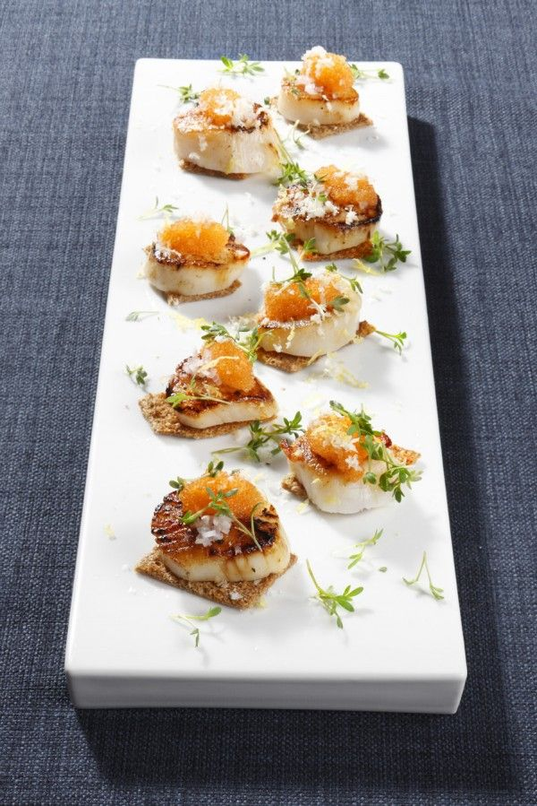 Seared scallops with vendace roe, horseradish and garden cress - blogs.sweden.se !