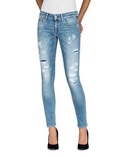 Replay Damen Skinny Jeans Luz Blau (Mid Light Blue 9) W27 L32. Eng  geschnittene Damen Jeans mit schmalem Beinverlauf und niedriger Bundhöhe  mit ... 5de458a1ed