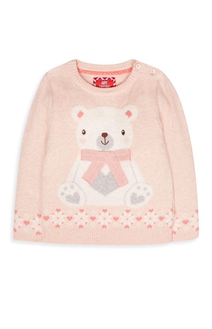 Pinker Pulli mit Eisbär für Babys (W)