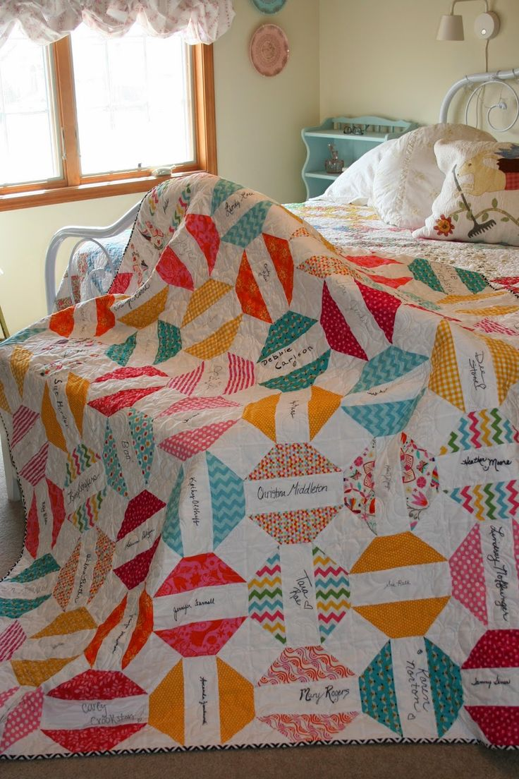 Lovely signature quilt made for a friend with cancer, so thoughtful! Sewn With Grace