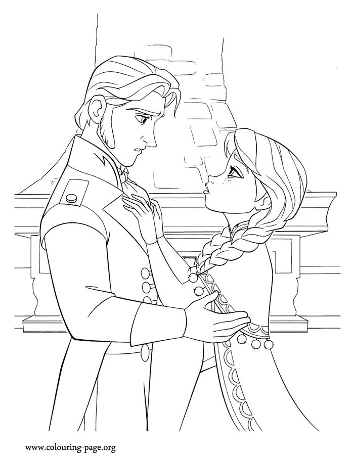 Anna needs a kiss from her true love to save her but it seems that Hans doesn't want to kiss her. Enjoy this free Disney Frozen coloring page and have fun!