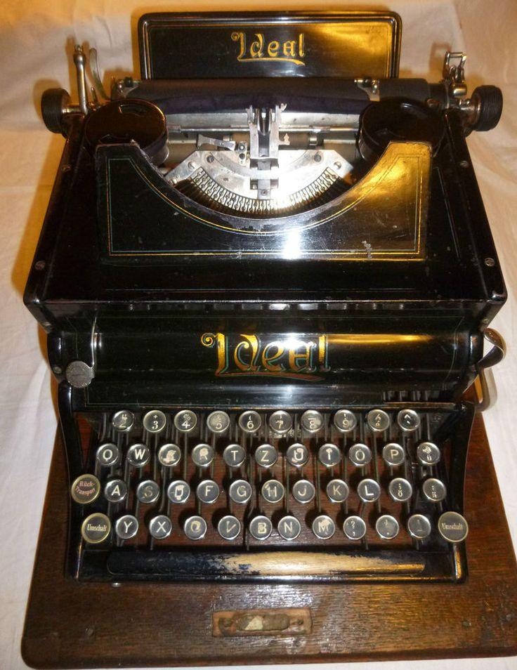 Rarität- Schreibmaschine IDEAL im Holzkoffer mit Bodenplatte, Nr. 46847