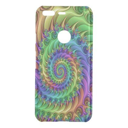 Funky Cool Psychedelic Fractal Spirals Pattern Uncommon Google Pixel Case - cool gift idea unique present special diy