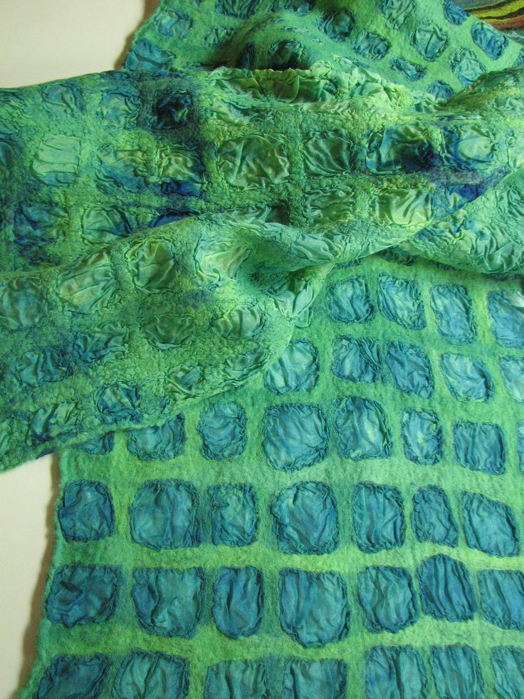 By Andrea Graham. Hand dyed wool and coordinating silk