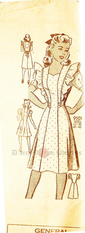 Mail Order 9101 Vintage 1940s Pinafore Dress by DRCRosePatterns