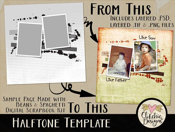 Layered Photoshop Template  Halftone 2 Photo Template  12x12