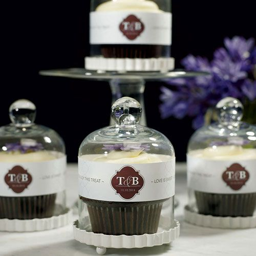 DIY wedding favors skipping cake?  leave cupcakes or truffles in these adorable mini cupcake displays. personaluzation wrap optional