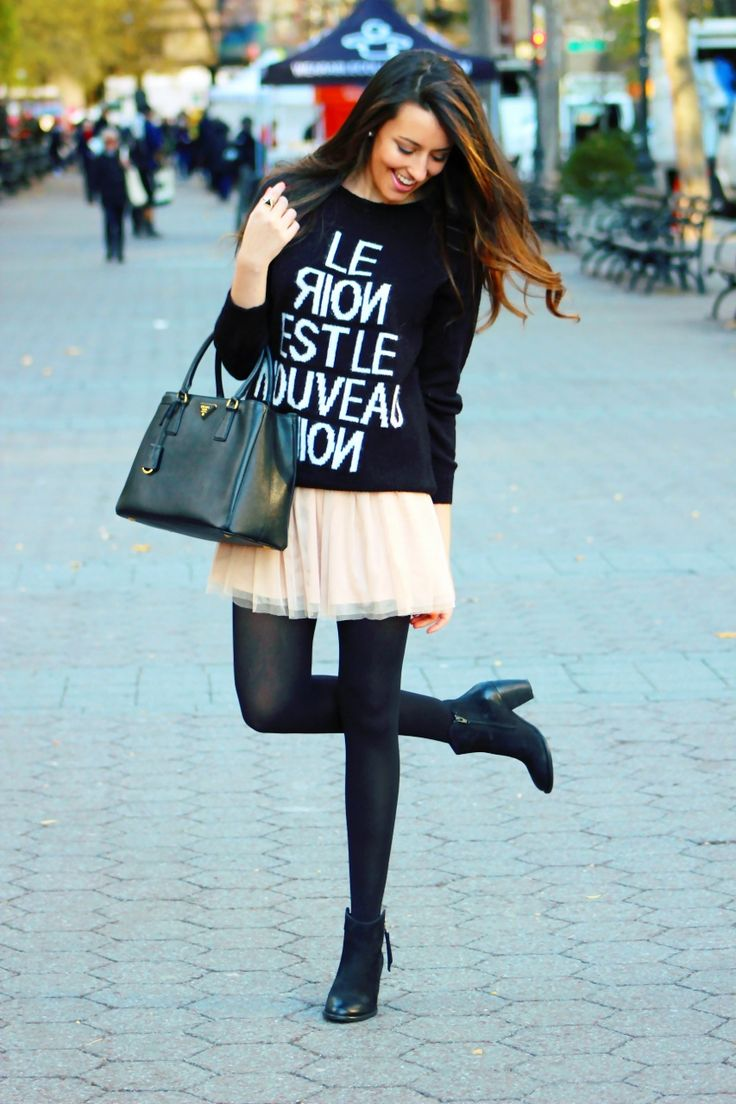 Tulle Skirt w/ oversized sweater, booties, and prada saffiano: cute winter skirt look