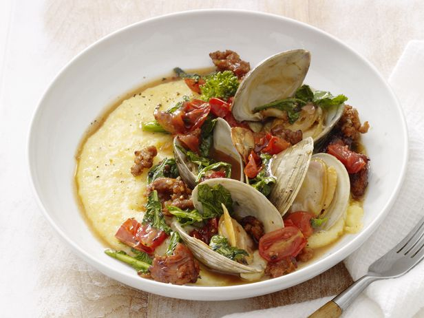 Sausage and Clams With Polenta #Protein #Grains #MyPlate: Broccoli Rabe, Food Network, Fish Seafood Recipes, Delicious Seafood, Clams, Italian Sausages, Sausages Recipes, Seafood Dishes, Polenta Recipes