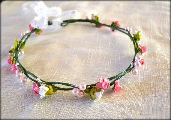 Floral Crown Wedding Headband Bridal Headband by MarianaHandmade, $43.00