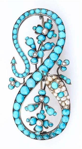 An antique silver gild, turquoise and pearl brooch. #antique #brooch