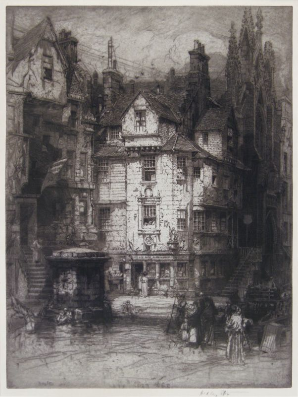 E. Hedley Fitton (British: 1857 – 1929): John Knox's House, Etching 1909