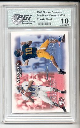 tom brady rookie card | ... about 2000 Pacific Tom Brady Rookie Card PGI 10 Patriots Michigan
