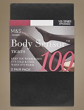 100 Denier Body Sensor™ Opaque Tights 2 Pair Pack