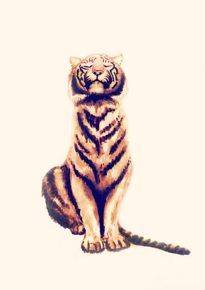 Illustration: an ink painting of a tiger by Cédric Stéphane Touati, lovely for a animal-themed child or baby room.