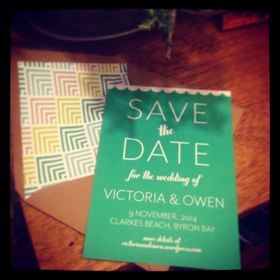 another image of our save the dates - maybe you could even work with a similar print to that which is on the inside of the envelope??