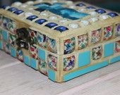 Smalti mosaic box. Jewelry box. gift box. turquoise blue. spectrum glass. blue glass. home decor. White grout. Venice glass.Special Gift