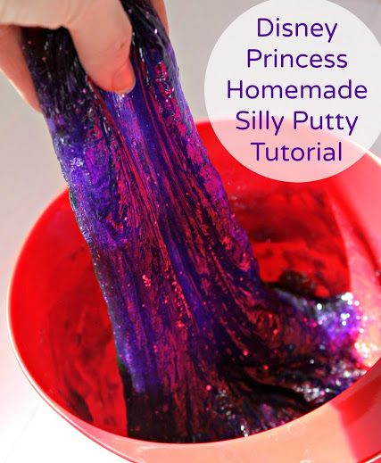 """Glittery Homemade Silly Putty Tutorial - make homemade silly putty to match your favorite Disney Princesses! This is """"Rapunzel"""" purple with pink glitter. Get the full tutorial and other #DisneyEaster ideas! #ad"""