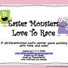Easter Monsters Love to Race-A Differentiated 10s and Ones Game