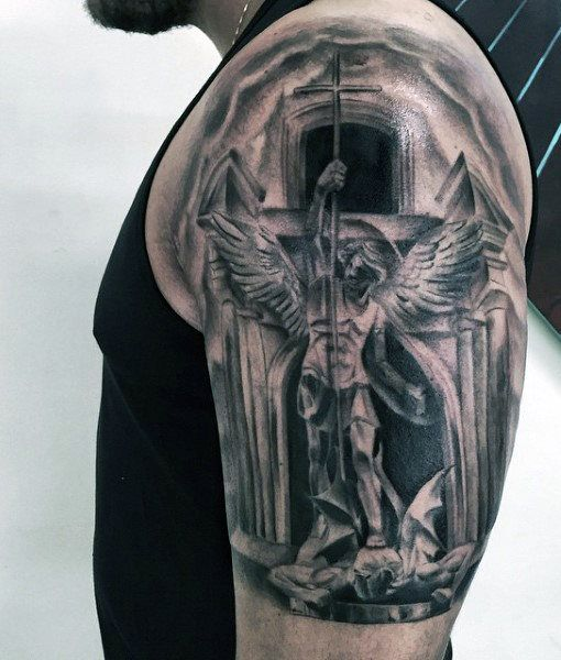 st michael angel tattoo for males on upper arm tattoo pinterest design men 39 s style and. Black Bedroom Furniture Sets. Home Design Ideas