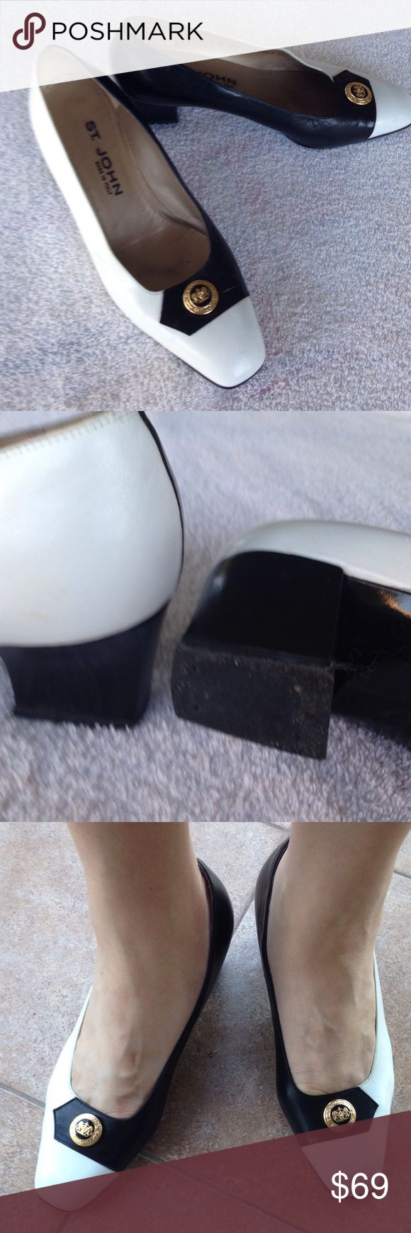 """ST JOHN Shoes 9B Mint Condition ST JOHN Shoes B 9, black and white pump with 2"""" heel. Wore few times.  OBO St. John Shoes Heels"""