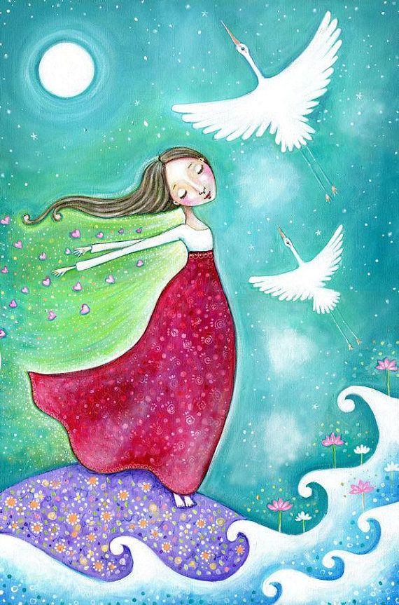 Girl and White Crane wall art Healing art print Crane animal