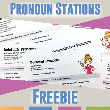 Students need to identify pronouns in a sentence, and they should study the different kinds of pronouns. This free pronoun station activity will provide students practice with finding pronouns in a sentence. Specifically: * Six pronoun stations with five sentences each.