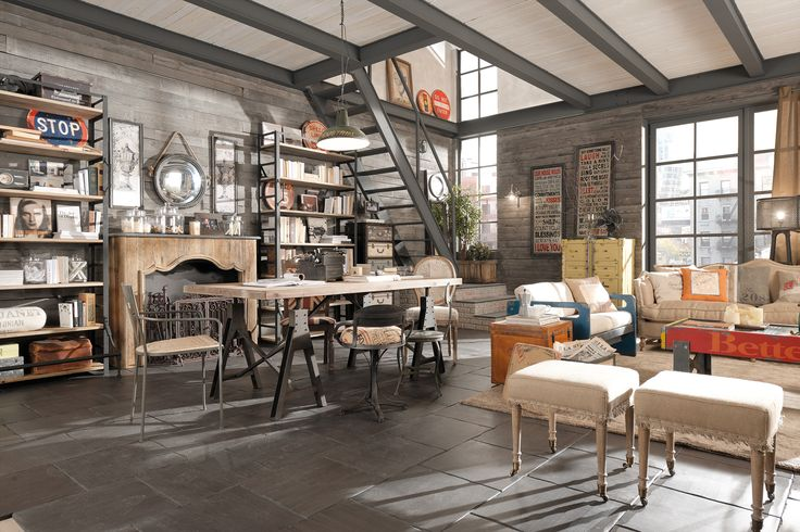 arredamento country vintage industrial loft urban shabby chic dialma brown industrial. Black Bedroom Furniture Sets. Home Design Ideas