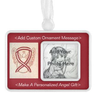 Burgundy and Ivory Head and Neck Cancer Awareness Ribbon Angel Ornament