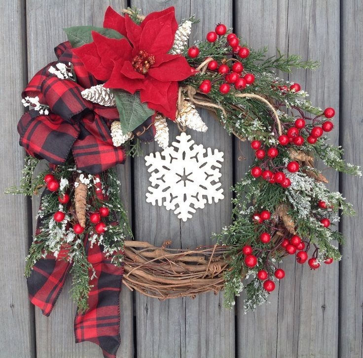 Small Front Door Christmas Wreath Snowflake Farmhouse Red Winter Berries Christmas Wreaths Christmas Decorations Holiday Wreaths