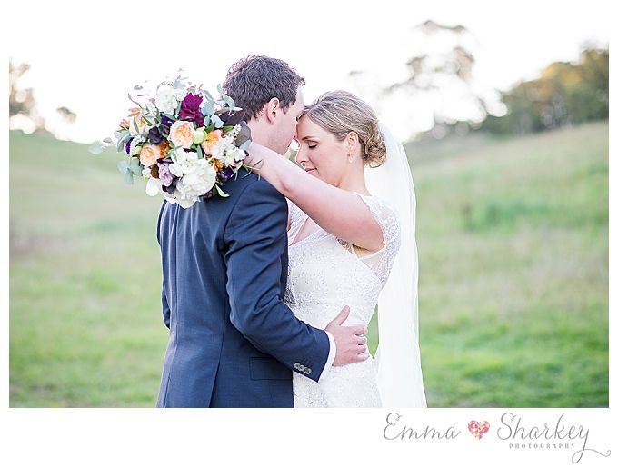 Golding Winery Wedding in the Adelaide Hills Photographed by Adelaide Wedding Photographer Emma Sharkey DIY Wedding Inspiration Lace Wedding Gown Wedding Flowers Bride and Groom Wedding Flowers by Blooming Bridal Styling by Kiera Blanden