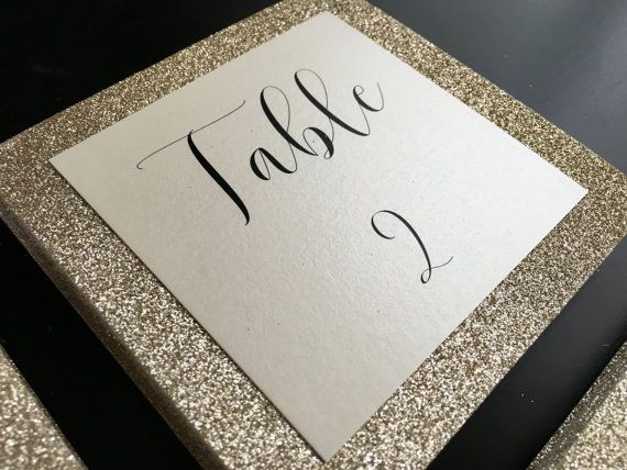 Gold Square Glitter Table Numbers Wedding By Peoniespolkadots