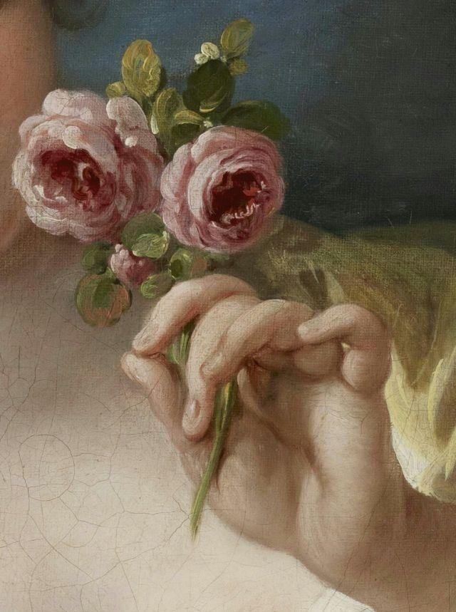 Portrait. Hand detail. Roses
