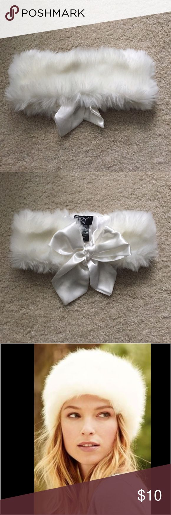 White Faux Fur Head Warmer / Headband / Ear Warmer White Faux Fur Headband with white bow in the back! Worn once, No stains!!! Elastic band in the back as shown in last photo. 80% acrylic, 20% polyester. D&Y Accessories