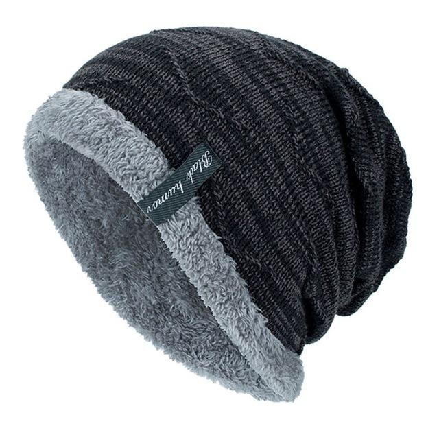 1 Stück Männer Strickmütze Winter Weiche Flauschige Atmungsaktive Falten Winddicht Warme Kappe Dropshipping   – teen-men