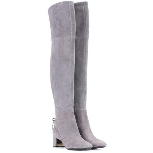 Tory Burch Laila 45 Suede Over-the-Knee Boots ($675) ❤ liked on Polyvore featuring shoes, boots, grey, gray boots, grey thigh high boots, thigh boots, gray over the knee boots and thigh high boots