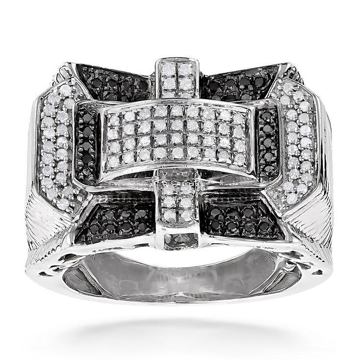 1 Carat White Black Diamond Ring for Men in Sterling Silver