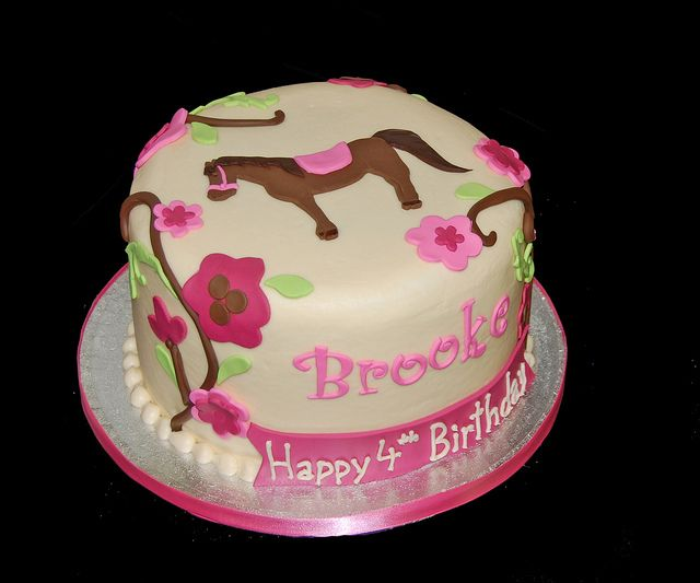 4th birthday horse cake with flowering vines to coordinate with partyware by Simply Sweets, via Flickr