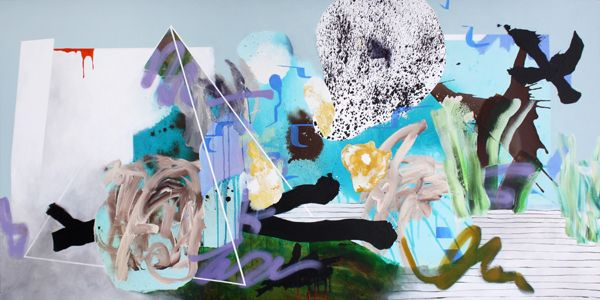 """COMMOTION BY THE OCEAN Acrylic and spray paint on canvas, 36"""" x 72"""" / 91.5cm x 183cm, 2010"""