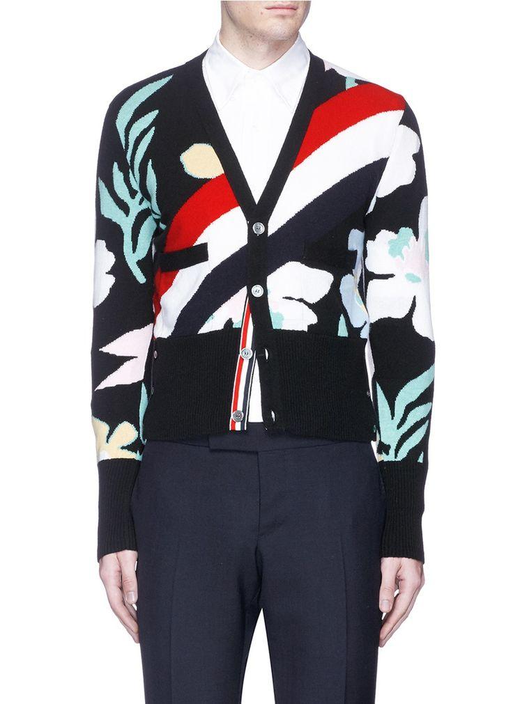 THOM BROWNE Floral Stripe Intarsia Cashmere Cardigan. #thombrowne #cloth #cardigan