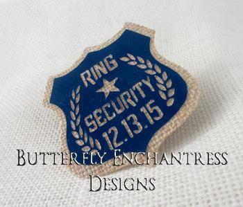 Wedding - Burlap Wedding Ring Bearer Security Badge Pin - Royal Blue Wedding - Bridal Party