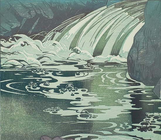 Waterfall, 1920-30 by Mabel Royds (1874-1941)....born in Bedfordshire, Royds however joined the staff of Edinburgh College of Art in 1911 and spent most of the rest of her life in Scotland...woodblock print...