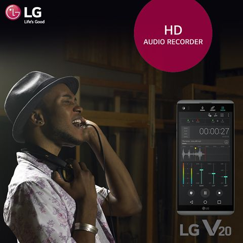 Customize your audio with the HD Audio Recorder in #LGV20! Now gain control over filter, bit rate and more as you capture audio that's as good as your video.