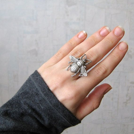 Bee ring  antique silver adjustable by PinkLizzard on Etsy, $17.00