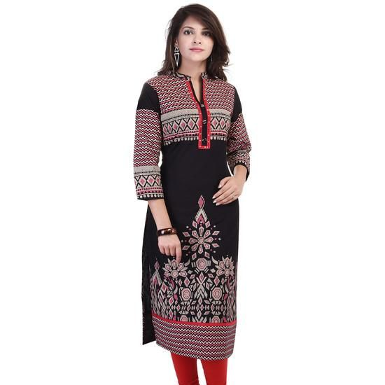 LadyIndia.com # Cotton Kurti, Stylish Designer Printed Floral Cotton Black Kurti For Women, Kurtis, Kurtas, Cotton Kurti, https://ladyindia.com/collections/ethnic-wear/products/stylish-designer-printed-floral-cotton-black-kurti-for-women