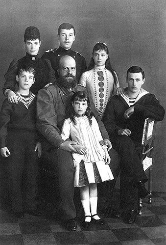 Tsar Alexander III, Tsarina Marie Feodorovna and their family, including the future Tsar Nicholas II