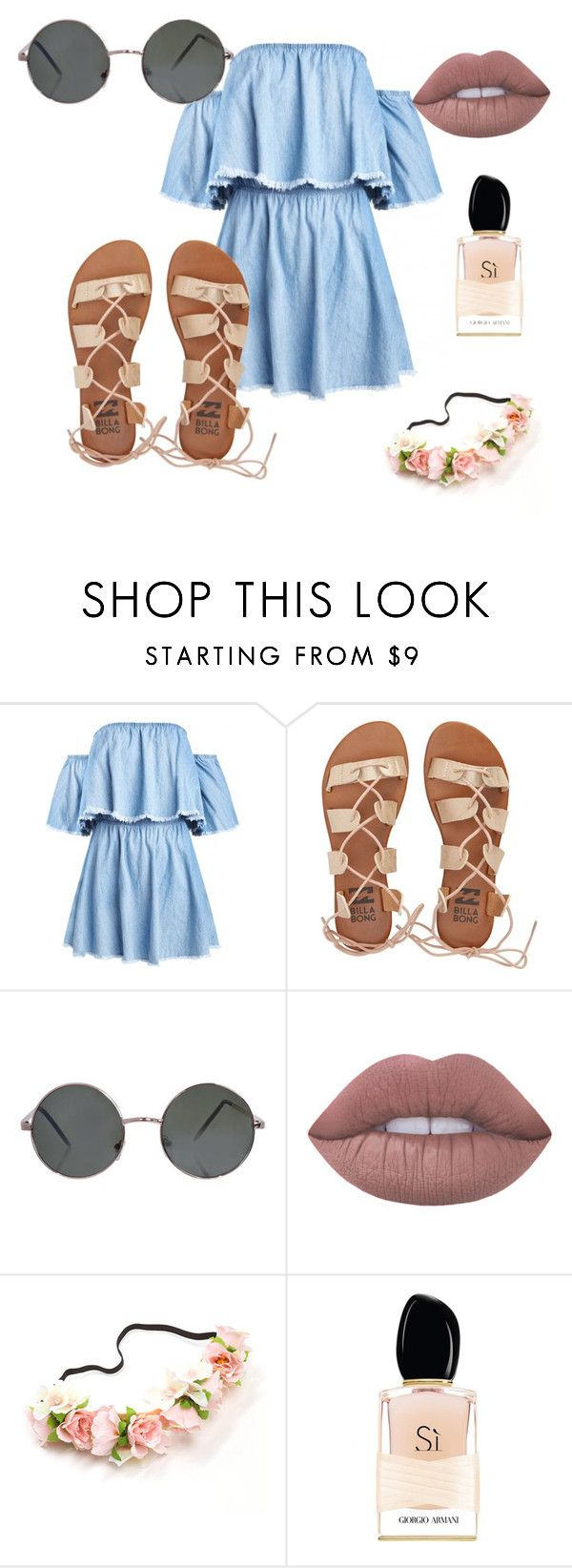"""#26"" by xxaxx-23 ❤ liked on Polyvore featuring Billabong, Lime Crime and Giorgio Armani"