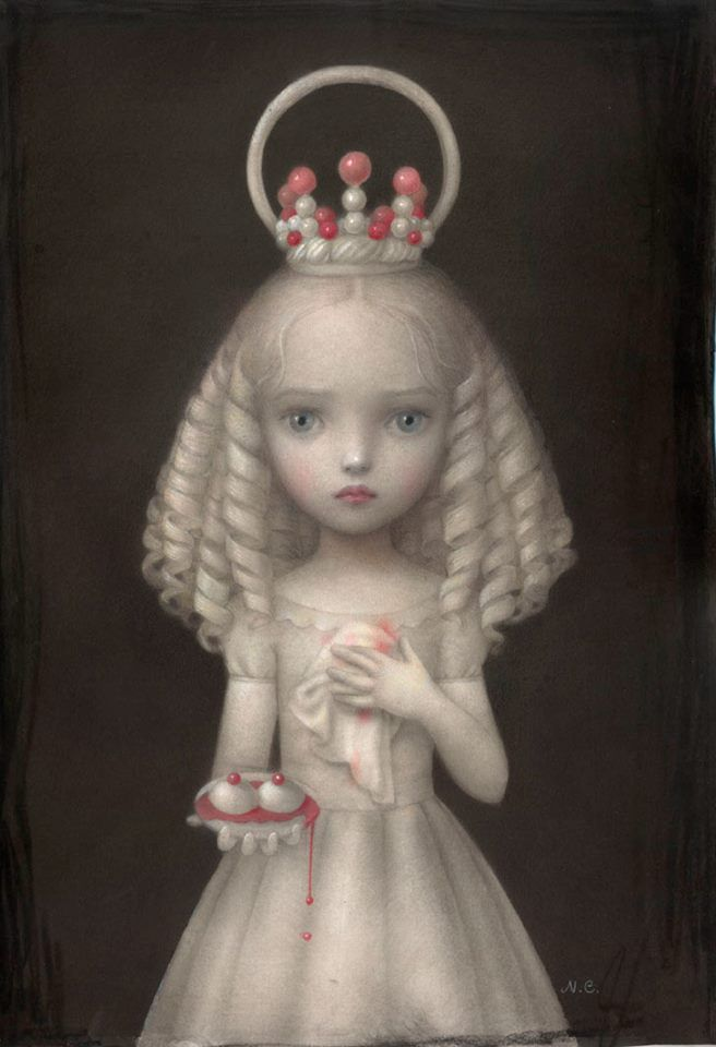 """Saint Agatha by Nicoletta Ceccoli.  """" I meant her to be a portrait of the martyr St. Agatha .After rejecting a man advances Agatha's breasts were crushed and cut off ..poor Agatha;_;"""""""