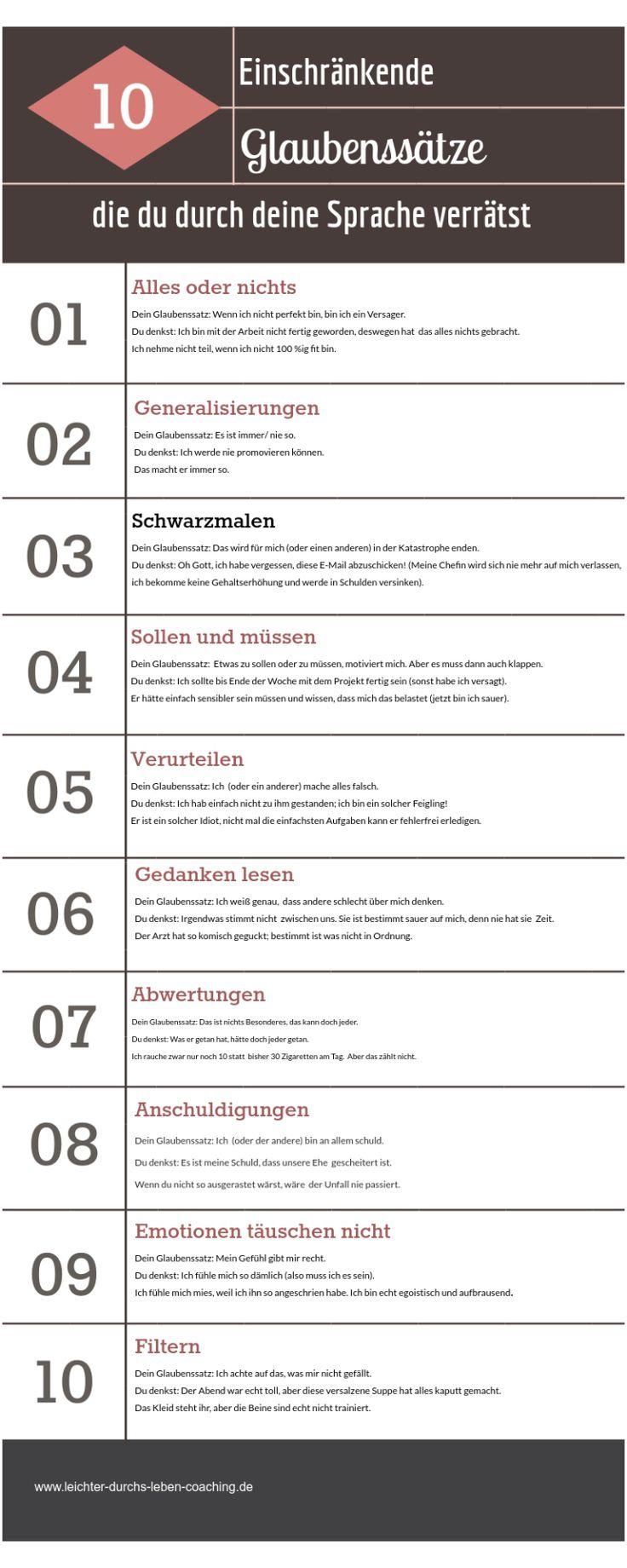 Einschränkende Glaubenssätze – Die Top 10 der Glaubenssätze, die dich und die Art, wie du die Welt wahrnimmst, einschränken – Liste zum Ausdrucken – Sonia Schwarz